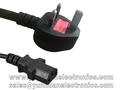 3 Pin Mains Lead - IEC 320 C13 to BS-1363 UK Plug Mains Power Cable Lead