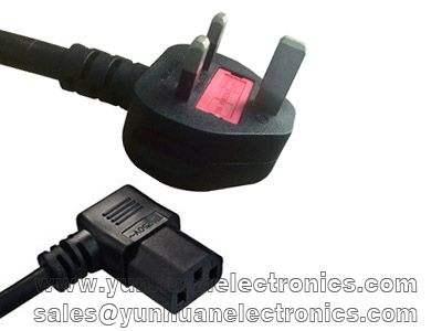 3 Prong UK Standard Fused Plug Power Cord Cable to angled IEC C13