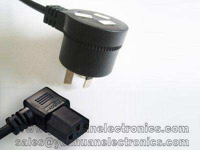 Australian SAA AS/NZS 3122  ac plug 10A/250VAC to angled IEC C13 10A/250VAC