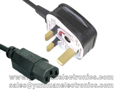 BSI 3 Pin UK Plug to Female C15 IEC Socket