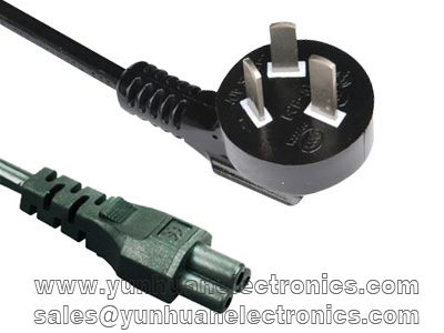 CHINA CCC 3 PIN LAPTOP PLUG TO IEC 60320 C5 2.5A/250V