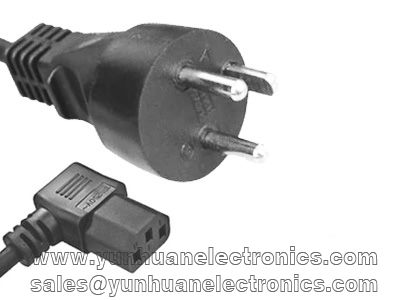 DEMKO Approval ac power cord to Angled IEC 60320 C13 10A/250V