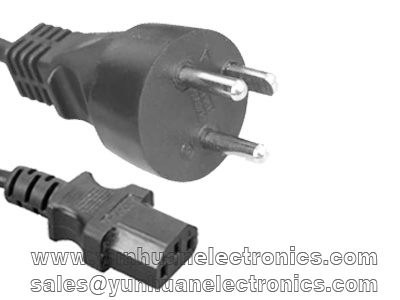 Danish Cord Set DK-2-1A Plug Type IEC 60320 C13 10a/250v