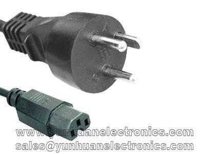 Denmark power cord DK-2-1A to IEC 60320 C15 10a/250v