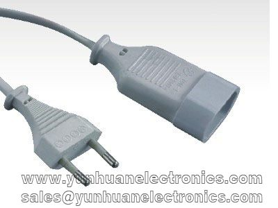 EN 50075 CEE 7/16 EUROPLUG MALE TO FEMALE EXTENSION CORD 2.5A/250V