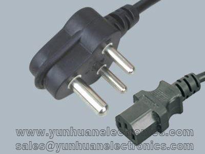 India/South Africa Cord Set SANS 164-1 Plug Type IEC 60320 C13 6A/250V