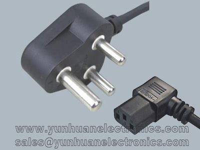 India/South Africa Cord Sets SANS 164-1 to Angled IEC 60320 C13 6A/250V