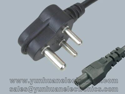 India/South Africa mains cord SANS 164-1 to  IEC 60320 C5 2.5A/250V
