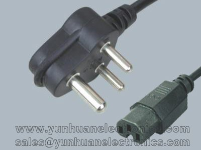 India/South Africa mains power cable SANS 164-1 to  IEC 60320 C15 6A/250V