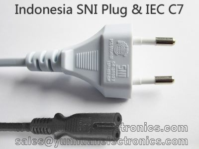 Indonesia SNI Power cord SNI01 IEC 60320 C7 ST2