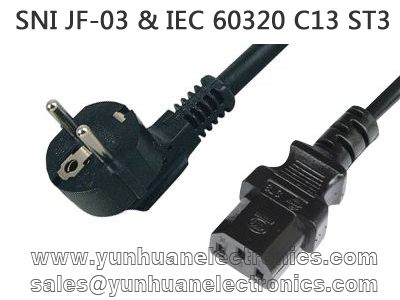 Indonesia SNI power cords JF-03 IEC C13 ST3