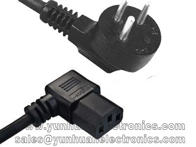 Israel Power Cord SI-32 SII approval to Angled IEC 60320 C13 10a/250v