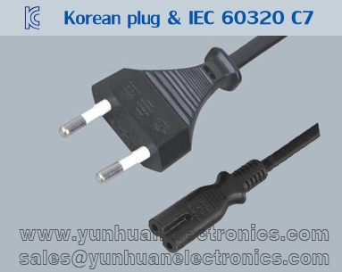 Korean kc power cord k01 IEC 60320 C7 ST2