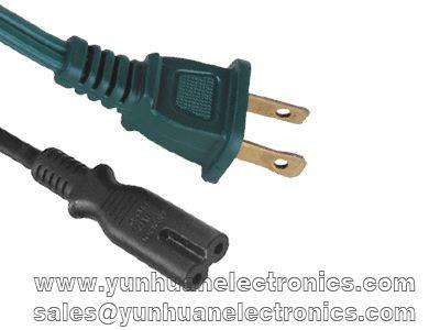 NEMA 1-15P SVT 2X18AWG IEC60320 C7 Power Cord