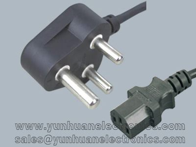 SABS standard Power Cord South Africa plug to IEC 60320 C13 16A/250VAC