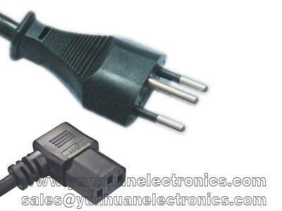 Swiss Cord Set SEV 1011 6534-2 Type 12 Plug IEC 60320 C13 Angled 10a/250vac